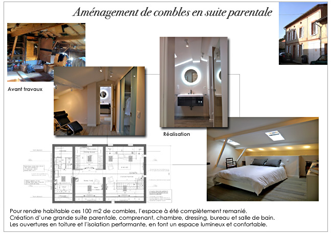 Architecture et d coration d 39 int rieur am nagement de for Amenagement suite parentale combles